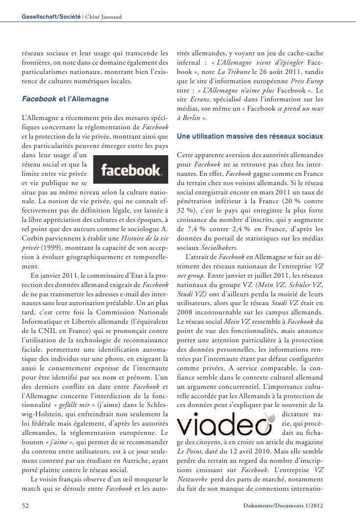 Gesellschaft/Société | Chloé Jaussaudréseaux sociaux et leur usage qui transcende les        rités allemandes, y voyant un...