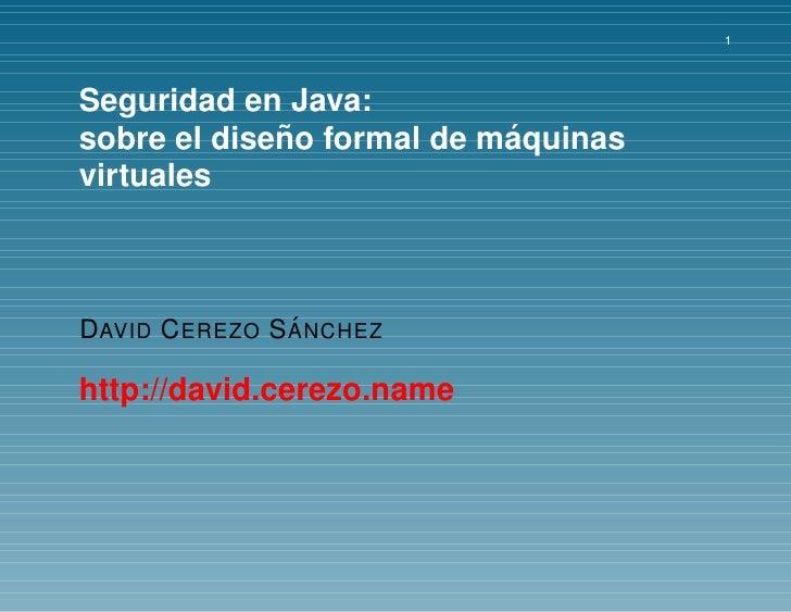 Diseño formal de máquinas virtuales Java