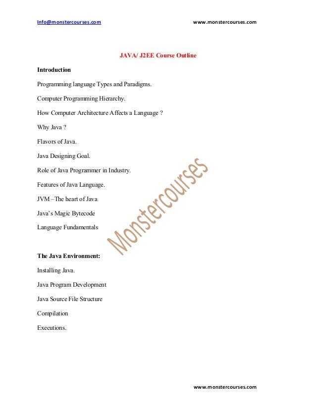 Info@monstercourses.com                                www.monstercourses.com                               JAVA/ J2EE Cou...