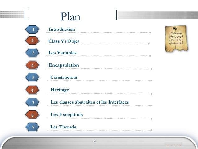 LOGO Plan 3 Class Vs Objet2 3 1 4 Encapsulation Les Variables 5 Constructeur 1 Introduction 6 Héritage 7 Les classes abstr...