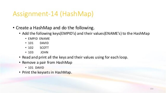 Assignment-14 (HashMap) • Create a HashMap and do the following. • Add the following keys(EMPID's) and their values(ENAME'...