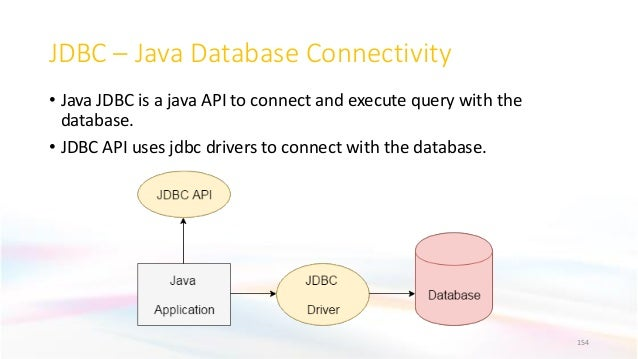 JDBC – Java Database Connectivity • Java JDBC is a java API to connect and execute query with the database. • JDBC API use...