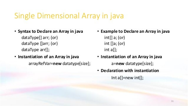 Single Dimensional Array in java • Syntax to Declare an Array in java dataType[] arr; (or) dataType []arr; (or) dataType a...