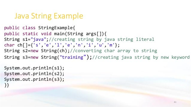 """Java String Example 41 public class StringExample{ public static void main(String args[]){ String s1=""""java"""";//creating str..."""