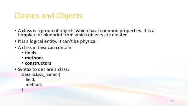Classes and Objects • A class is a group of objects which have common properties. It is a template or blueprint from which...