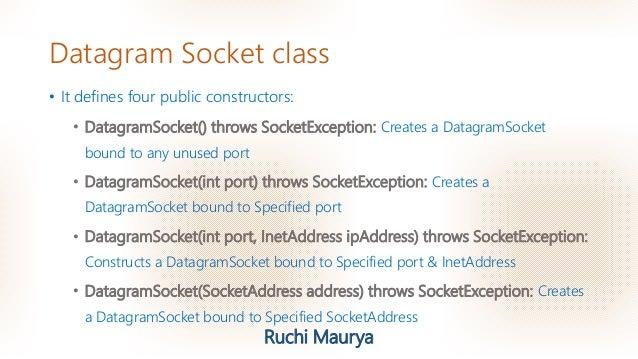 Java- Datagram Socket class & Datagram Packet class