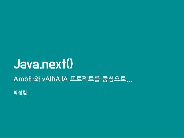 Java.next() AmbEr와 vAlhAllA 프로젝트를 중심으로... 박성철
