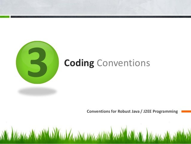 3 Coding Conventions Conventions for Robust Java / J2EE Programming