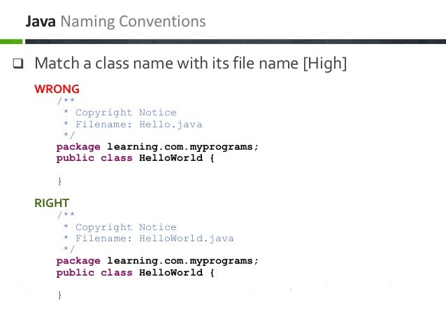  Match a class name with its file name [High] Java Naming Conventions WRONG /** * Copyright Notice * Filename: Hello.java...