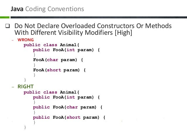  Do Not Declare Overloaded Constructors Or Methods With Different Visibility Modifiers [High] – WRONG public class Animal...