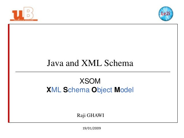 Java and XML Schema XSOM XML Schema Object Model  Raji GHAWI 19/01/2009