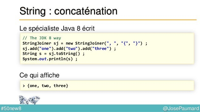 @JosePaumard#50new8 I/O : lecture de fichiers texte Stream implémente AutoCloseable // Java 7 : try with resources and use...
