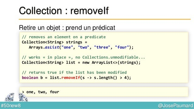 @JosePaumard#50new8 Parallel Arrays Arrays.parallelPrefix : fold right long [] array = new long [...] ; Arrays.parallelPre...