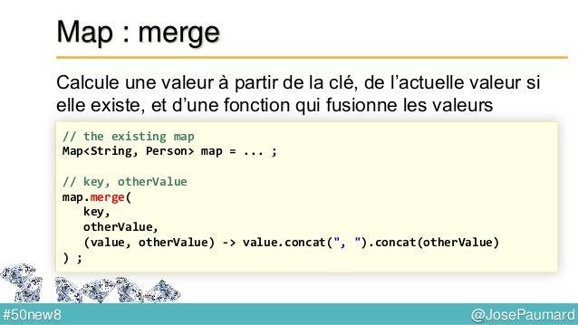 @JosePaumard#50new8 CompletableFuture Extension de Future CompletableFuture<String> page = CompletableFuture.supplyAsync( ...