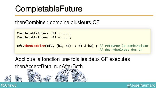 @JosePaumard#50new8 Variables atomiques On a : AtomicLong atomic = new AtomicLong() ; long l1 = atomic.incrementAndGet() ;...