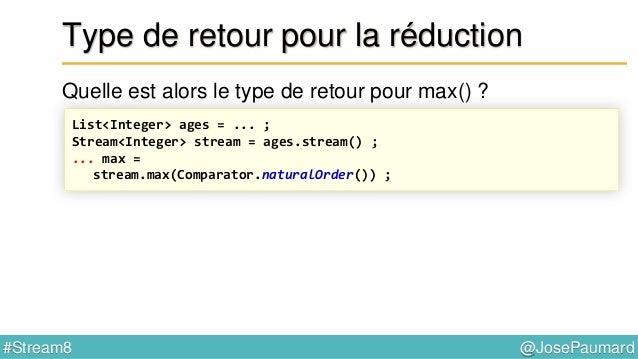 @JosePaumard#Stream8 Fonction du Spliterator Méthodes par défaut // interface Spliterator default void forEachRemaining(Co...