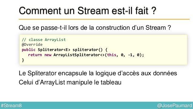 @JosePaumard#Stream8 Opérations stateless / stateful Le code suivant : … sélectionne les 1000 premières personnes ArrayLis...