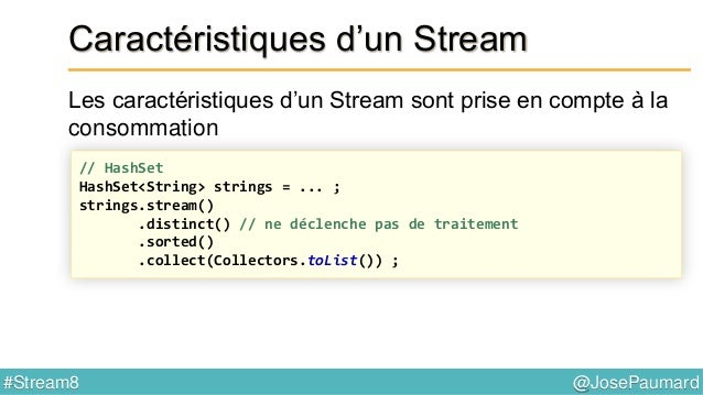 @JosePaumard#Stream8 Stream & performance Retour sur l'exemple ArrayList<Person> persons = ... ; persons.stream() .map(Per...