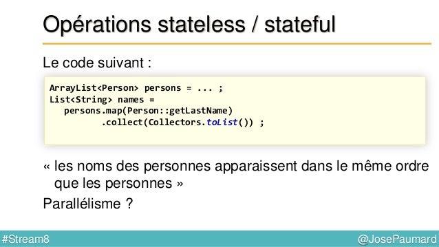 @JosePaumard#Stream8 Parallélisation Par défaut les ForkJoinTask s'exécutent dans le « common pool », un FJ Pool créé au n...