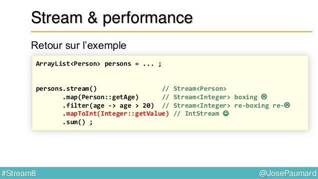 @JosePaumard#Stream8 Réduction Remarque sur la valeur initiale Certaines réduction ont donc un problème : - max,min - aver...