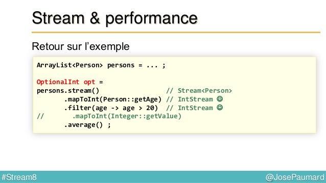@JosePaumard#Stream8 Réduction Exemple 1 : concaténation de chaîne de caractères - constructeur : Supplier - accumulateur ...