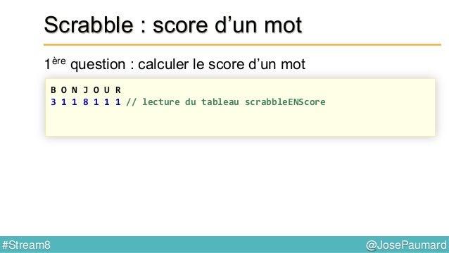 @JosePaumard#Stream8 Scrabble : mot possible ? 4ème question : peut-on écrire ce mot ? B U Z Z A R D // le mot