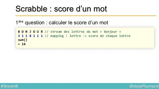 @JosePaumard#Stream8 Scrabble : mot possible ? 4ème question : peut-on écrire ce mot ? B U Z Z A R D // le mot B U Z A R D...
