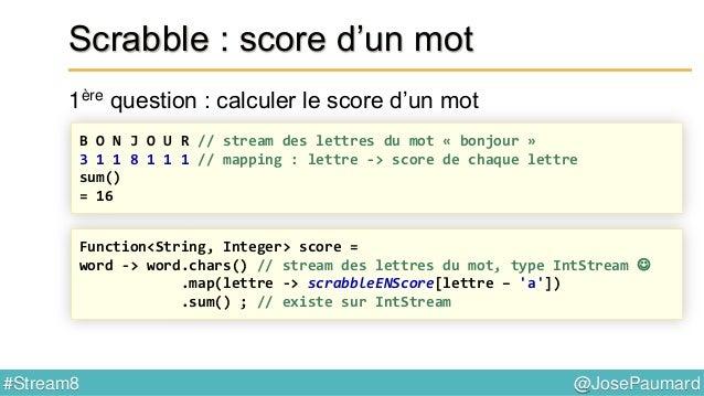 @JosePaumard#Stream8 Scrabble : mot possible ? 4ème question : peut-on écrire ce mot ? word -> word.chars() // IntStream ...