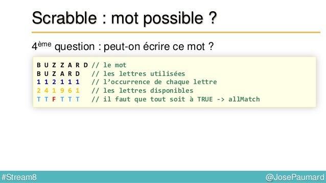 @JosePaumard#Stream8 Scrabble : mot possible ? 5ème question : et si l'on utilise les blancs disponibles ? B U Z Z A R D /...