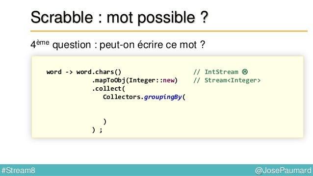 @JosePaumard#Stream8 Scrabble : mot possible ? 5ème question : et si l'on utilise les blancs disponibles ? Optional<Map.En...