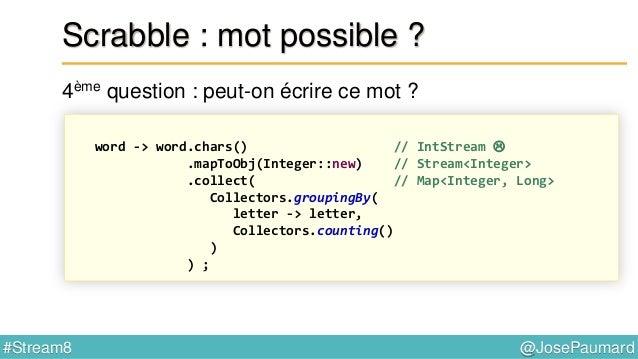 @JosePaumard#Stream8 Scrabble : mot possible ? 5ème question : et si l'on utilise les blancs disponibles ? = problème de m...