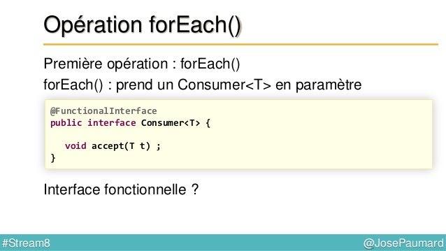 @JosePaumard#Stream8 Interface fonctionnelle = une interface qui ne possède qu'une seule méthode