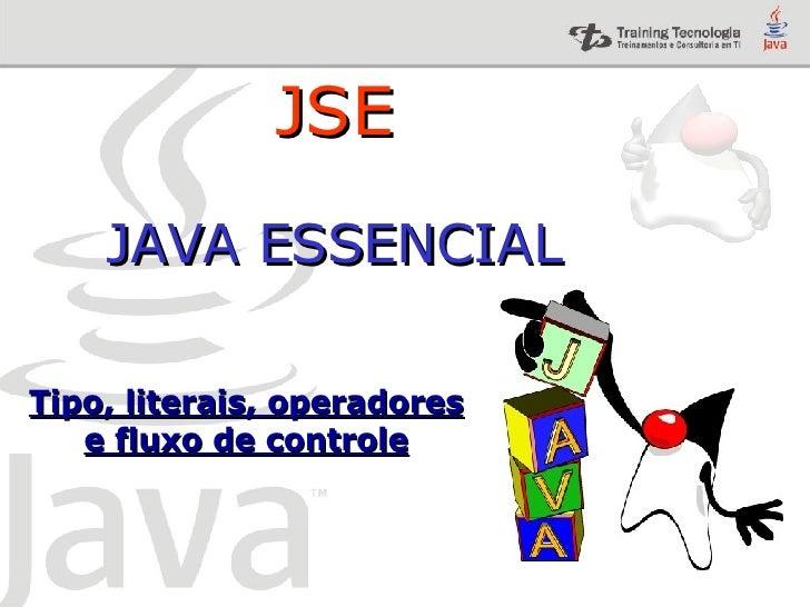 Tipo, literais, operadores e fluxo de controle JSE JAVA ESSENCIAL