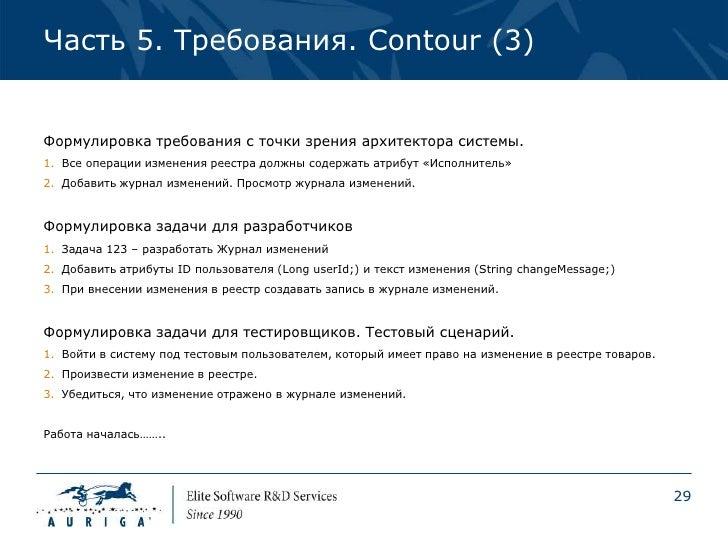 Часть 5. Требования. Contour (3)Формулировка требования с точки зрения архитектора системы.1. Все операции изменения реест...