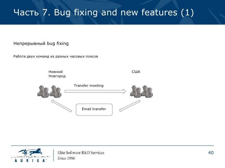 Часть 7. Bug fixing and new features (1)Непрерывный bug fixingРабота двух команд из разных часовых поясов                 ...