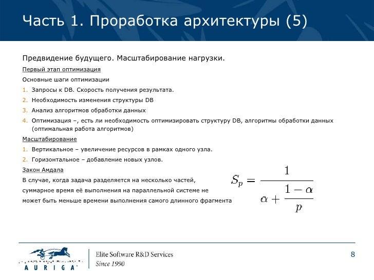 Часть 1. Проработка архитектуры (5)Предвидение будущего. Масштабирование нагрузки.Первый этап оптимизацияОсновные шаги опт...
