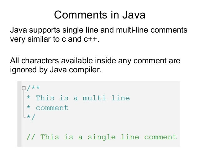 how to write a comment in java