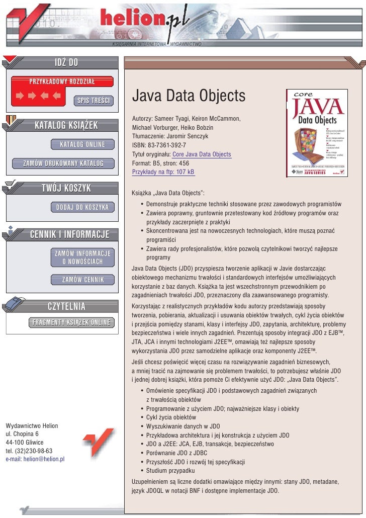 IDZ DO          PRZYK£ADOWY ROZDZIA£                             SPIS TRE CI   Java Data Objects                          ...