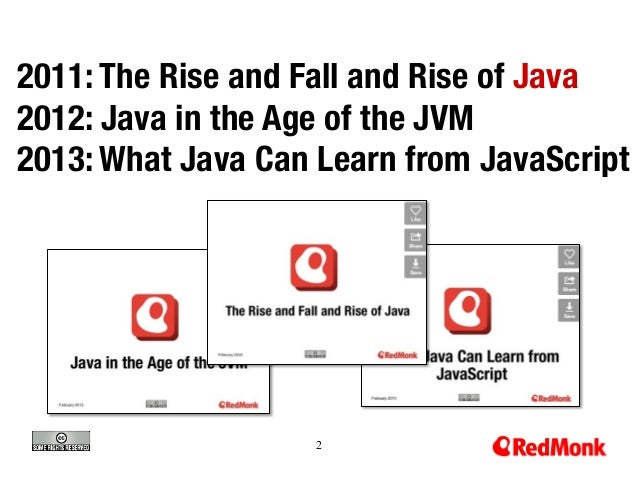 2011: The Rise and Fall and Rise of Java 2012: Java in the Age of the JVM 2013: What Java Can Learn from JavaScript  2