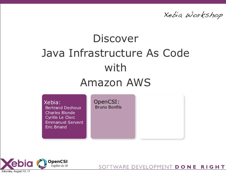 Xebia Workshop                                    Discover                          Java Infrastructure As Code           ...