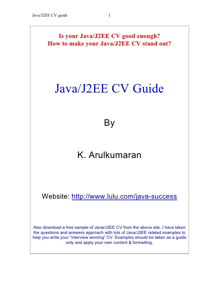java j2ee cv guide
