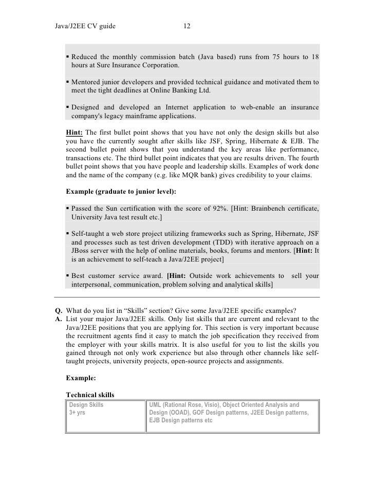 Cv Example Java Programmer - Java Developer Resumes