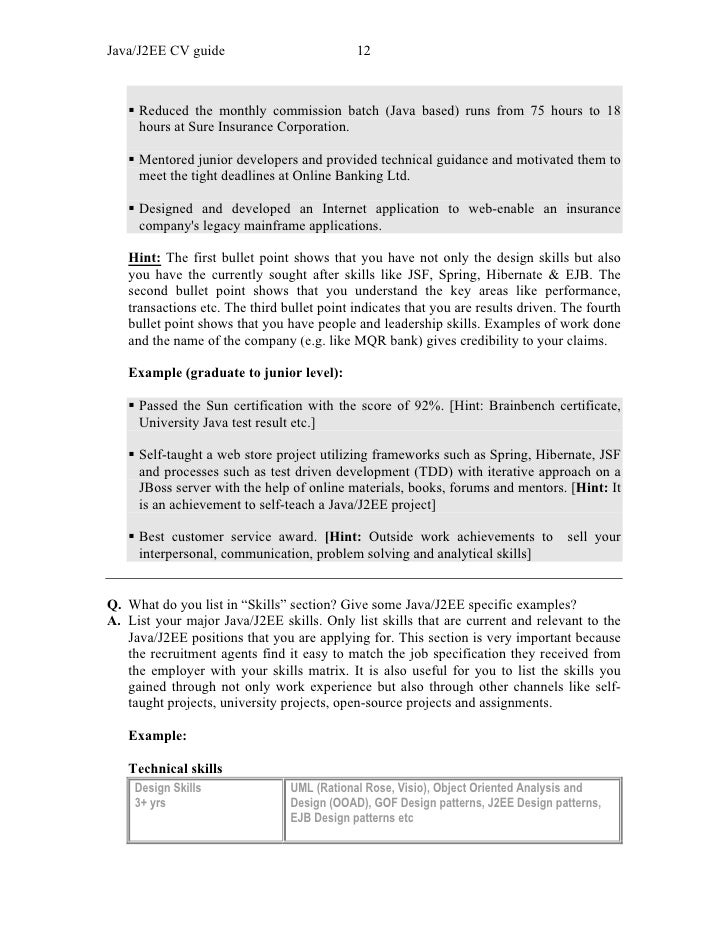 Resume Sample Resume Of Junior Java Developer javaj2ee cv guide cv