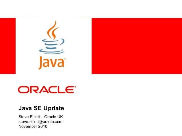 <Insert Picture Here> Java SE Update Steve Elliott – Oracle UK steve.elliott@oracle.com November 2010