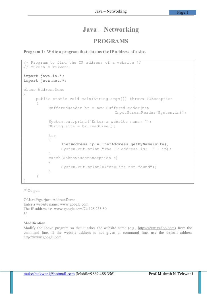 Java – Networking                              Page 1                                 Java – Networking                   ...