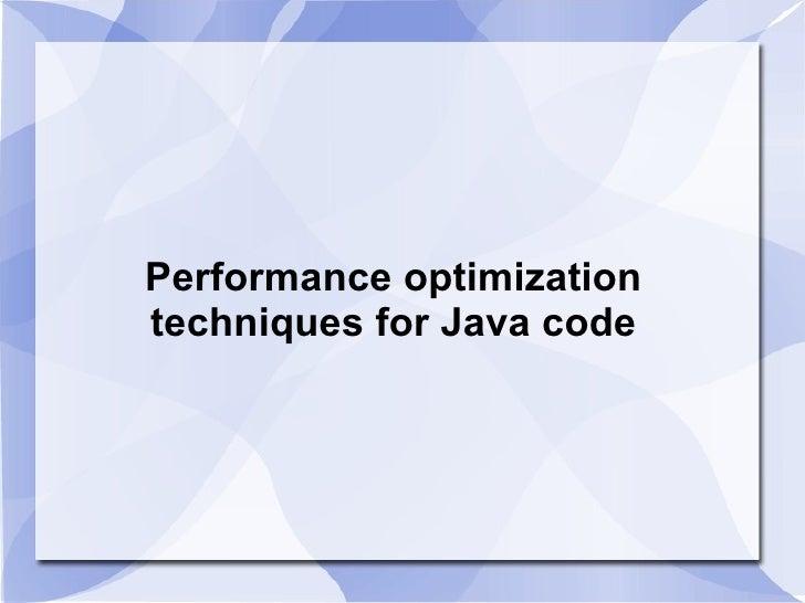 code optimization techniques in java pdf