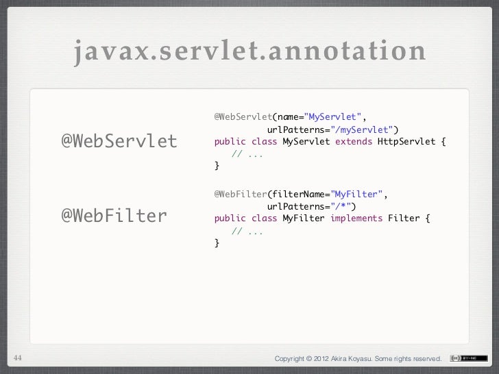 "javax.servlet.annotation                   @WebServlet(name=""MyServlet"",                             urlPatterns=""/myServl..."