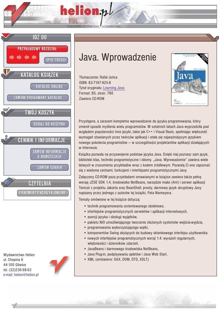 IDZ DO          PRZYK£ADOWY ROZDZIA£                             SPIS TRE CI   Java. Wprowadzenie            KATALOG KSI¥¯...