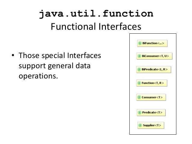 java.util.function         Functional Interfaces• Those special Interfaces  support general data  operations.