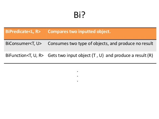 Bi?BiPredicate<L, R>    Compares two inputted object.BiConsumer<T, U>     Consumes two type of objects, and produce no res...